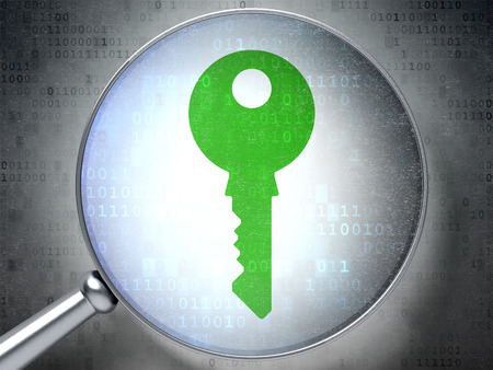 digital background: Privacy concept: magnifying optical glass with Key icon on digital background