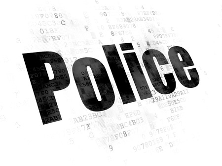 cyber defence: Law concept: Pixelated black text Police on Digital background