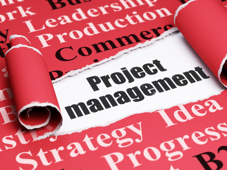 brand damage: Finance concept: black text Project Management under the curled piece of Red torn paper with  Tag Cloud Stock Photo