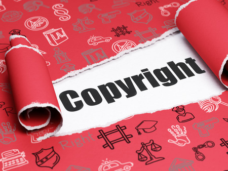 criminal act: Law concept: black text Copyright under the curled piece of Red torn paper with  Hand Drawn Law Icons