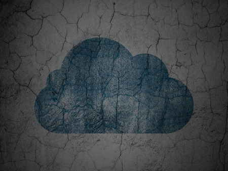 wall cloud: Cloud networking concept: Blue Cloud on grunge textured concrete wall background