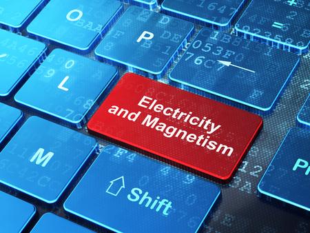 magnetismo: Concepto de la ciencia: Teclado de ordenador con la palabra electricidad y el magnetismo en introducir bot�n de fondo, 3d Foto de archivo