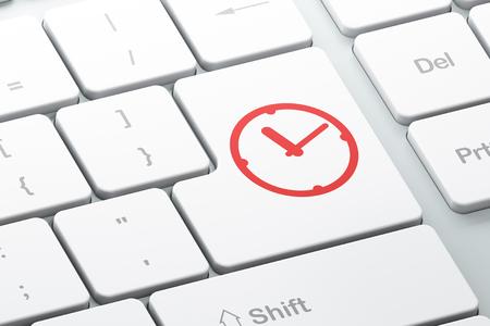 cronologia: Concepto de tiempo: bot�n con el reloj en el fondo del teclado del ordenador Enter, 3d