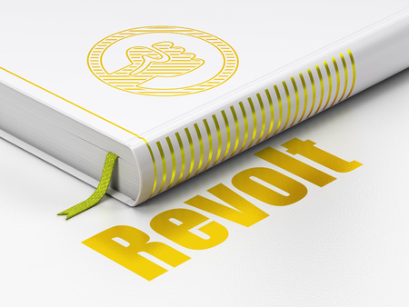 revolt: Politics concept: closed book with Gold Uprising icon and text Revolt on floor, white background, 3d render