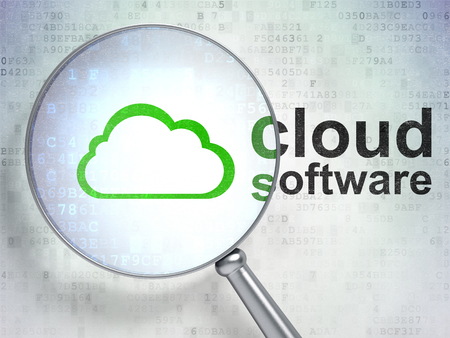 digital background: Cloud computing concept: magnifying optical glass with Cloud icon and Cloud Software word on digital background Stock Photo