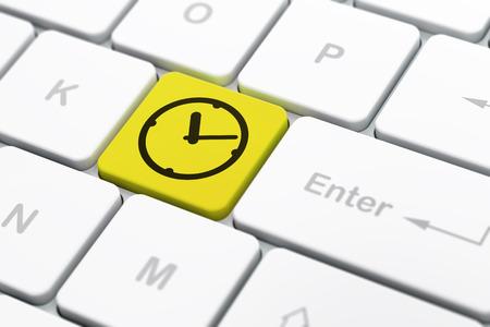 cronologia: Concepto del tiempo: Teclado de ordenador con el icono del reloj en el bot�n de entrar en el fondo, enfoque seleccionado, 3d Foto de archivo