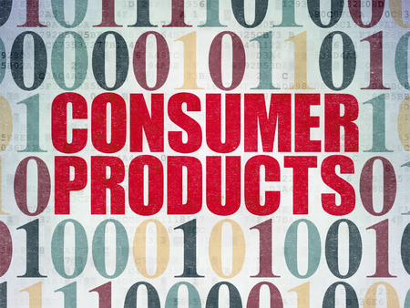 consumer products: Business concept: Painted red text Consumer Products on Digital Paper background with Binary Code
