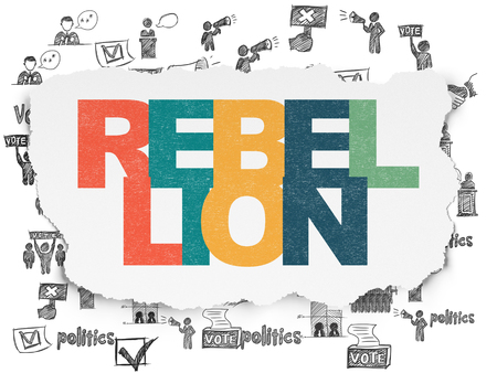 rebellion: Politics concept: Painted multicolor text Rebellion on Torn Paper background with  Hand Drawn Politics Icons