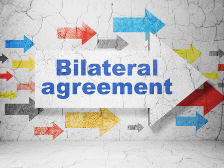 bilateral: Insurance concept:  arrow with Bilateral Agreement on grunge textured concrete wall background Stock Photo