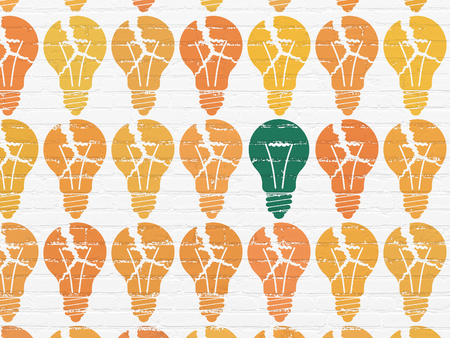 green light bulb: Business concept: rows of Painted orange light bulb icons around green light bulb icon on White Brick wall background
