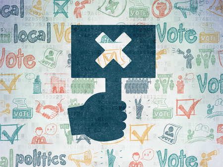 political system: Political concept: Painted blue Protest icon on Digital Paper background with  Hand Drawn Politics Icons