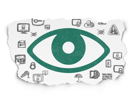 ojo verde: Protection concept: Painted green Eye icon on Torn Paper background with  Hand Drawn Security Icons