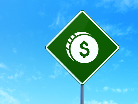 way bill: Currency concept: Dollar Coin on green road (highway) sign, clear blue sky background, 3d render Stock Photo