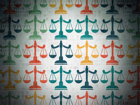 criminal act: Law concept: Painted multicolor Scales icons on Digital Paper background Stock Photo
