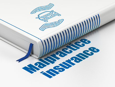 malpractice: Insurance concept: closed book with Blue Car And Palm icon and text Malpractice Insurance on floor, white background, 3d render