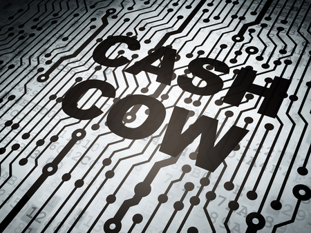 cash cow: Finance concept: circuit board with  word Cash Cow, 3d render