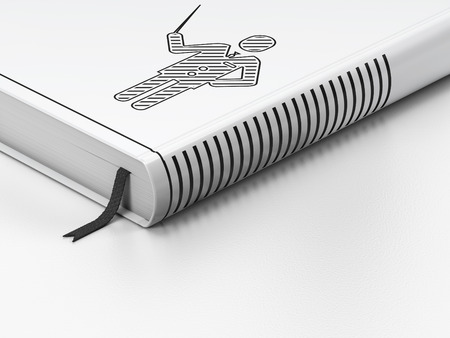 closed book: Education concept: closed book with Black Teacher icon on floor, white background, 3d render