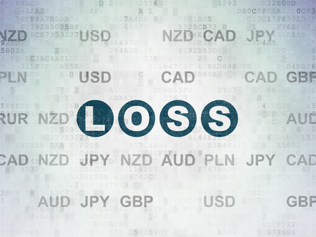 loss leader: Finance concept: Painted blue text Loss on Digital Paper background with Currency