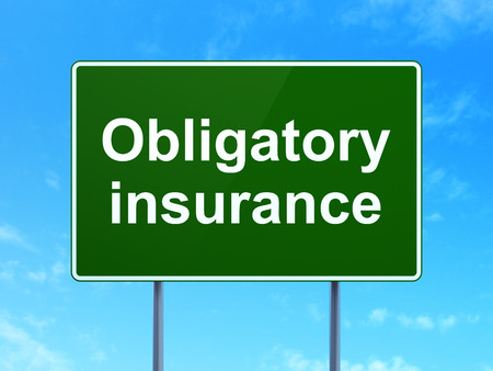 obligatory: Insurance concept: Obligatory Insurance on green road (highway) sign, clear blue sky background, 3d render