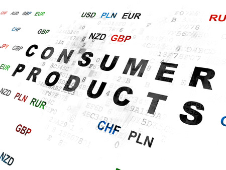 consumer products: Business concept: Pixelated black text Consumer Products on Digital wall background with Currency Stock Photo