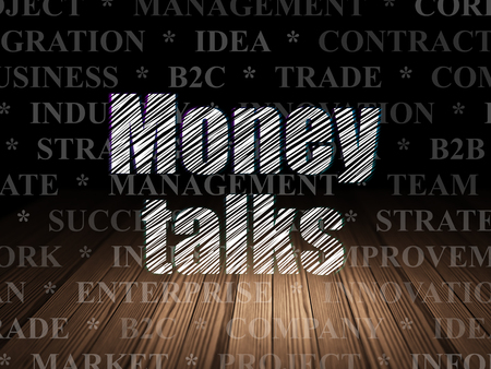 conversaciones: Concepto de negocio: Texto Glowing dinero habla en el grunge habitación oscura con el suelo de madera, fondo negro con el Tag Cloud Foto de archivo