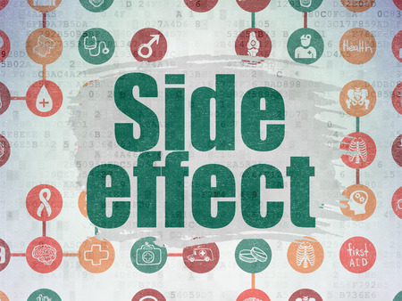 side effect: Medicine concept: Painted green text Side Effect on Digital Paper background with  Scheme Of Hand Drawn Medicine Icons