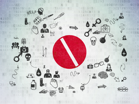medicina: Concepto de medicamento: Pintado icono p�ldora roja sobre fondo de papel digital con el Esquema de dibujado a mano Iconos de Medicina
