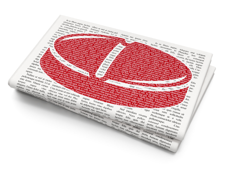 red pill: Medicine concept: Pixelated red Pill icon on Newspaper background