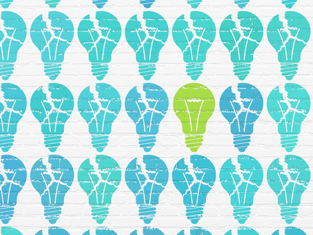 broken strategy: Business concept: rows of Painted blue light bulb icons around green light bulb icon on White Brick wall background