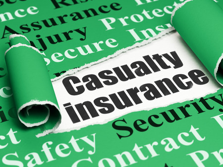 casualty: Insurance concept: black text Casualty Insurance under the curled piece of Green torn paper with  Tag Cloud