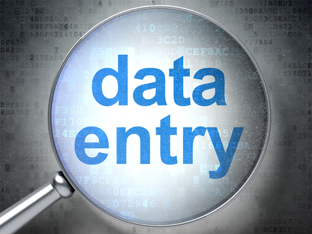 data entry: Information concept: magnifying optical glass with words Data Entry on digital background