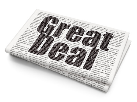 great deal: Business concept: Pixelated black text Great Deal on Newspaper background