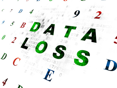 data loss: Data concept: Pixelated green text Data Loss on Digital wall background with Hexadecimal Code