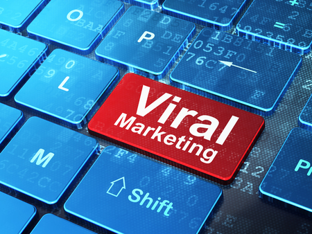 teclado de computadora: Concepto de marketing: Teclado de ordenador con la palabra Marketing Viral en introducir fondo bot�n, 3d