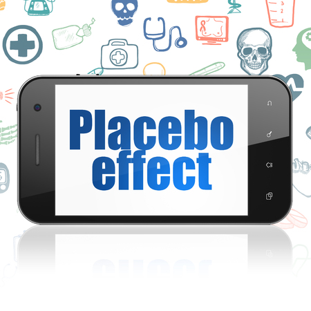 placebo: Healthcare concept: Smartphone with  blue text Placebo Effect on display,  Hand Drawn Medicine Icons background Stock Photo