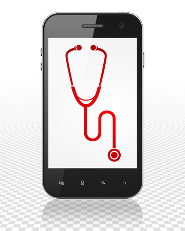 red stethoscope: Healthcare concept: Smartphone with red Stethoscope icon on display
