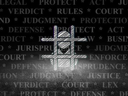 à   law: Concepto de la ley: Glowing icono Penal en el grunge habitación oscura con Dirty Floor, fondo negro con el Tag Cloud Foto de archivo