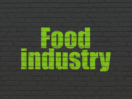 food industry: Industry concept: Painted green text Food Industry on Black Brick wall background