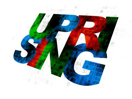 uprising: Politics concept: Pixelated multicolor text Uprising on Digital background Stock Photo