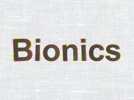 bionics: Science concept: CMYK Bionics on linen fabric texture background