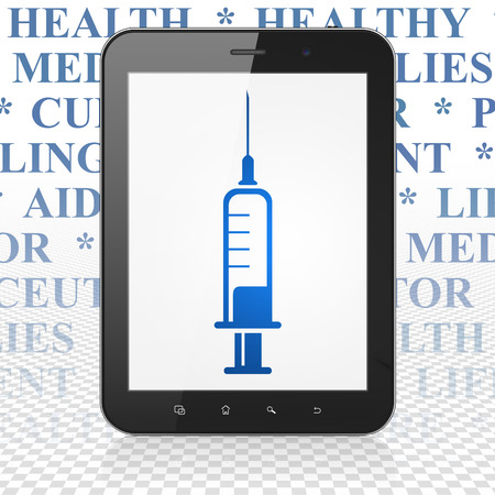 healing touch: Medicine concept: Tablet Computer with  blue Syringe icon on display,  Tag Cloud background Stock Photo
