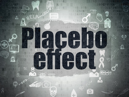 placebo: Health concept: Painted black text Placebo Effect on Digital Paper background with Scheme Of Hand Drawn Medicine Icons