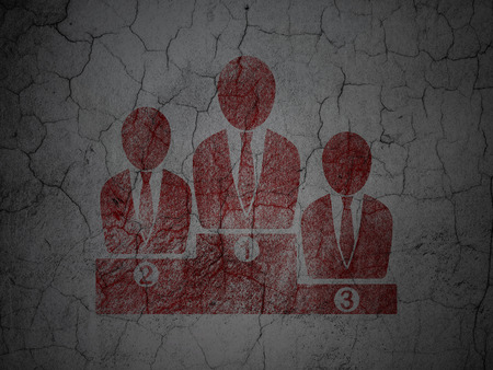 cement court: Law concept: Red Business Team on grunge textured concrete wall background Stock Photo