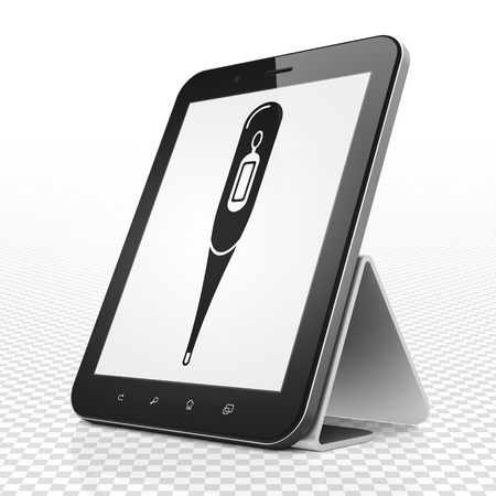 healing touch: Healthcare concept: Tablet Computer with black Thermometer icon on display Stock Photo