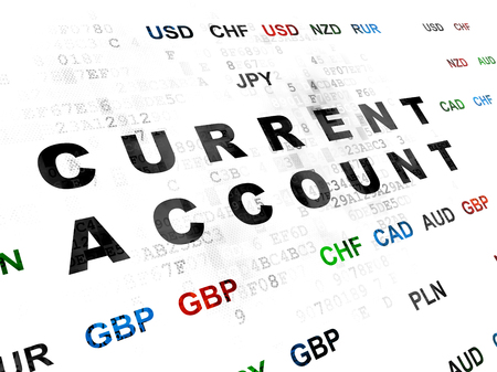 current account: Money concept: Pixelated black text Current Account on Digital wall background with Currency