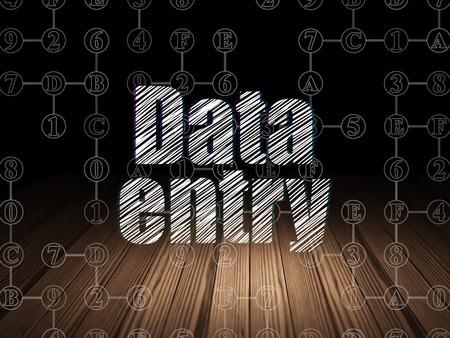 data entry: Data concept: Glowing text Data Entry in grunge dark room with Wooden Floor, black background with Scheme Of Hexadecimal Code