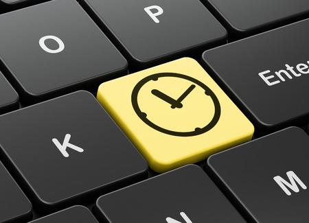 cronologia: Concepto del tiempo: Teclado de ordenador con el icono del reloj en el fondo entra en el botón, 3d