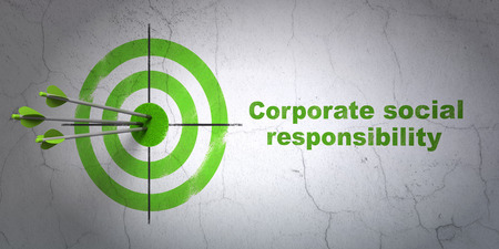 hitting a wall: Success finance concept: arrows hitting the center of target, Green Corporate Social Responsibility on wall background Stock Photo