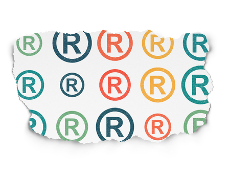 r regulation: Law concept: Painted multicolor Registered icons on Torn Paper background
