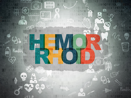 hemorrhoid: Healthcare concept: Painted multicolor text Hemorrhoid on Digital Paper background with Scheme Of Hand Drawn Medicine Icons